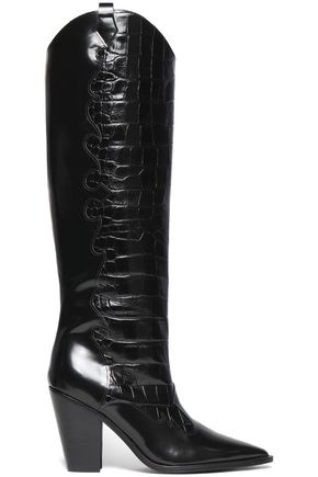 SIGERSON MORRISON Karida glossed smooth and croc-effect leather knee boots