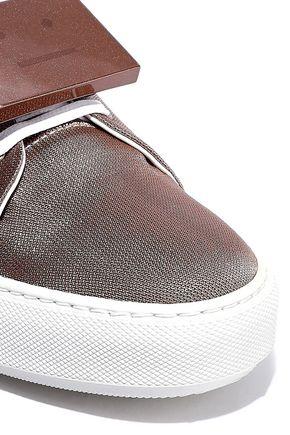 ACNE STUDIOS Adriana plaque-detailed metallic canvas sneakers
