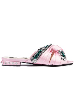 N°21 Knotted crystal-embellished satin slides