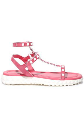 VALENTINO GARAVANI Rockstud suede and leather sandals