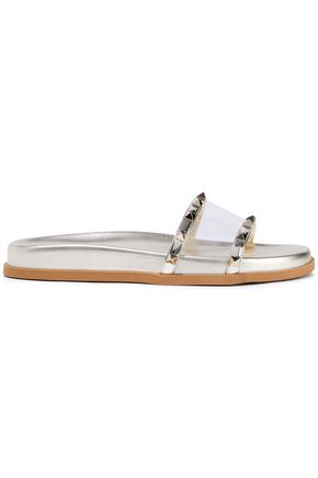 VALENTINO GARAVANI Rockstud metallic leather and PVC slides