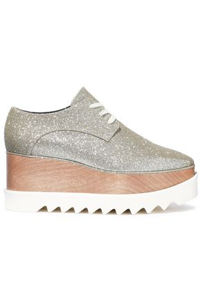 STELLA McCARTNEY Glittered faux leather platform brogues