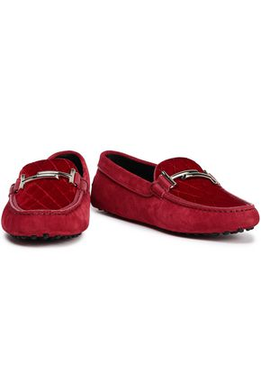 TOD'S Quilted velvet-paneled suede moccasins