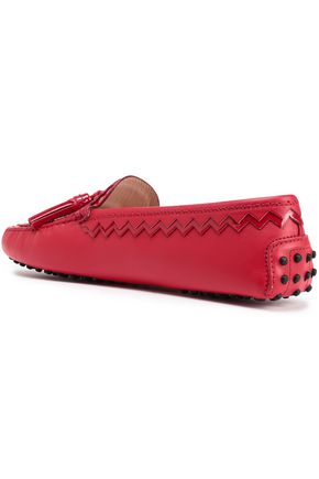 TOD'S Patent-trimmed leather moccasins