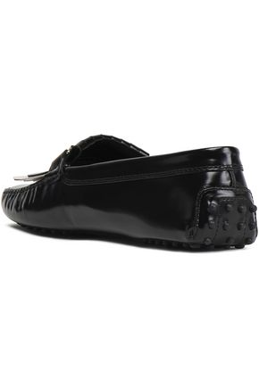 TOD'S Fringed glossed-leather loafers