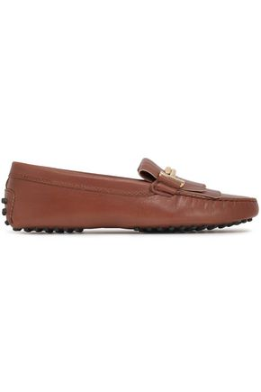 TOD'S Fringed leather moccasins