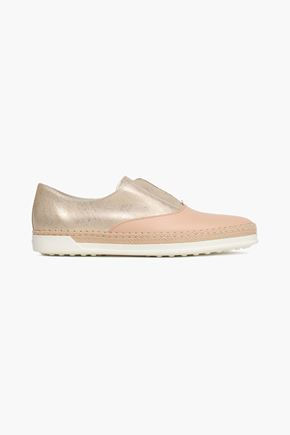 TOD'S Paneled metallic and smooth-leather slip-on sneakers