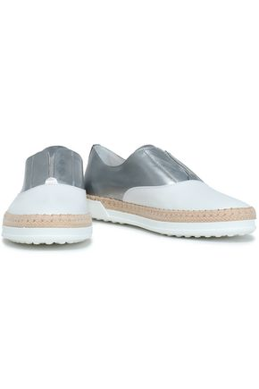 6f770f41350 TOD S Metallic-paneled leather sneakers
