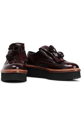 TOD'S Tasseled glossed-leather brogues