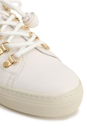 TOD'S Metallic-trimmed leather sneakers