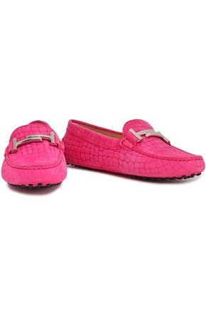 TOD'S Croc-effect suede moccasins