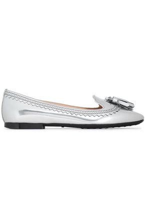 TOD'S Metallic tasseled glossed-leather loafers