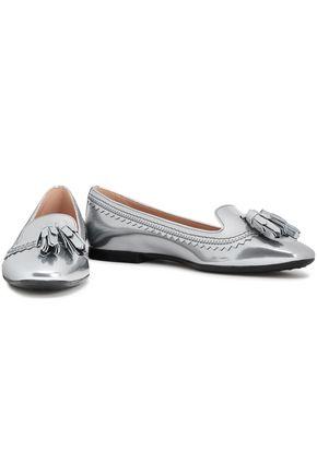 TOD'S Metallic tasseled glossed-leather loafers