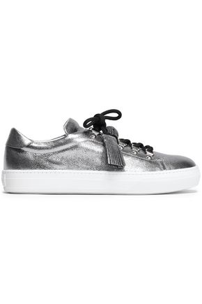 TOD'S Tasseled metallic textured-leather sneakers