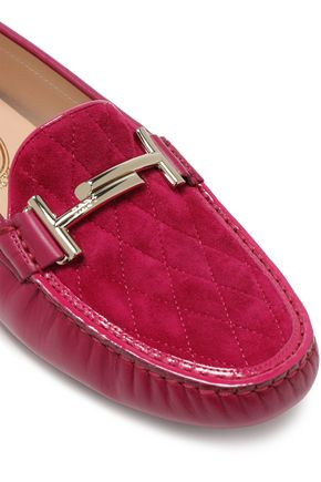 TOD'S Gommino embellished quilted suede and leather loafers