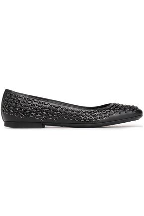 TOD'S Ring-embellished leather ballet flats