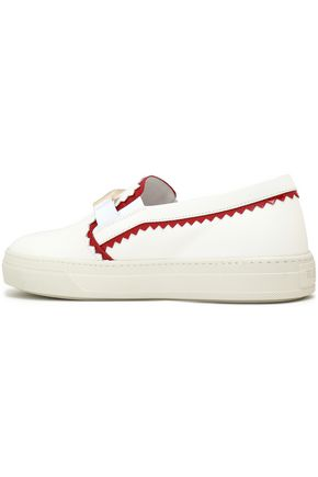 TOD'S Patent leather-trimmed smooth leather slip-on sneakers