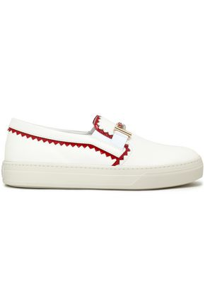 TOD'S Patent-trimmed leather sneakers