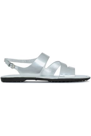 TOD'S Cutout metallic leather sandals