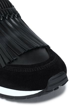 TOD'S Fringed suede-paneled leather slip-on sneakers