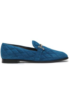 TOD'S Quilted suede loafers