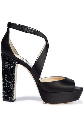 JIMMY CHOO April 120 satin platform sandals