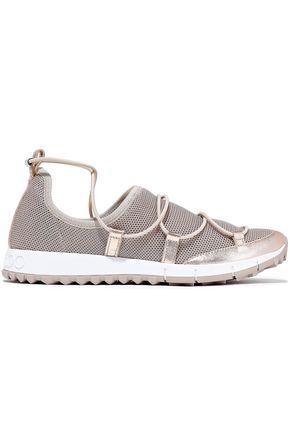 JIMMY CHOO Andrea metallic leather-trimmed stretch-mesh sneakers