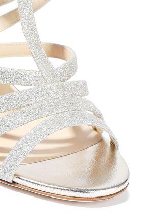 JIMMY CHOO Selina 100 glittered leather sandals