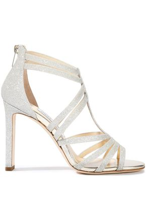 JIMMY CHOO Selina 100 glittered leather sandals
