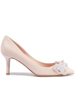 SALVATORE FERRAGAMO Talla 70 bow-embellished leather pumps