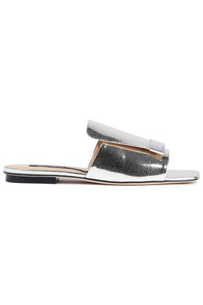 SERGIO ROSSI Metallic cracked-leather slides