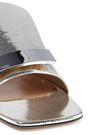 SERGIO ROSSI Metallic cracked-leather slides