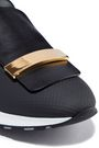 SERGIO ROSSI Sr1 embellished leather and coated-mesh slip-on sneakers