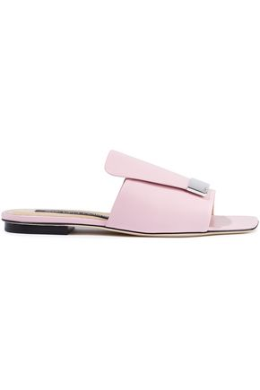 SERGIO ROSSI Embellished leather slides