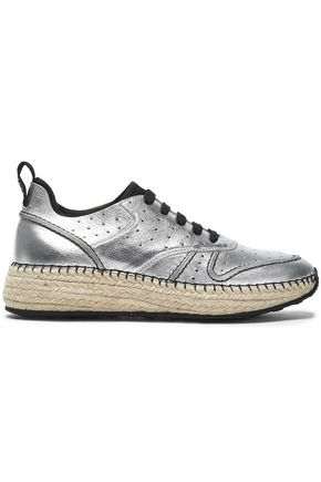 TOD'S Perforated metallic leather sneakers