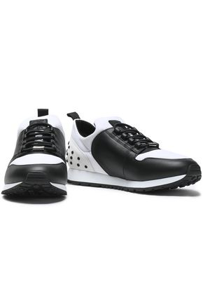 TOD'S Studded two-tone leather and shell sneakers