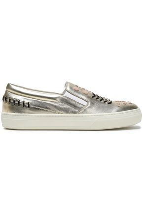 TOD'S Embellished metallic leather sneakers