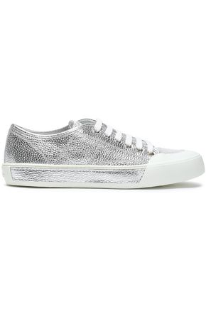TOD'S Metallic textured-leather sneakers