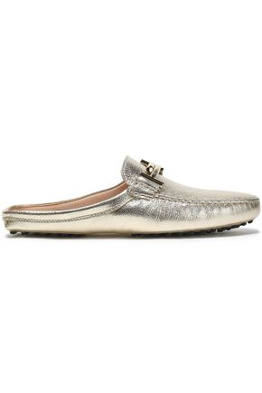 TOD'S Embellished metallic leather slippers