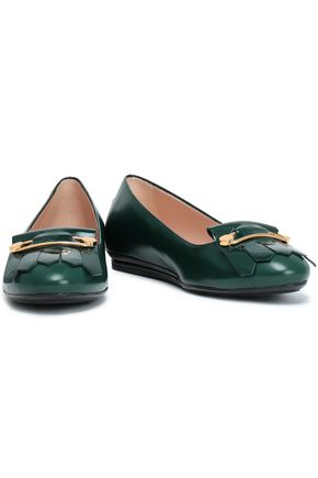 TOD'S Patent leather-trimmed smooth leather ballet flats