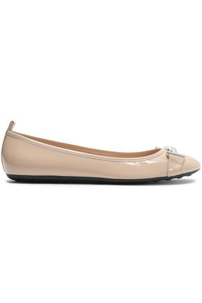 TOD'S Embellished patent-leather ballet flats