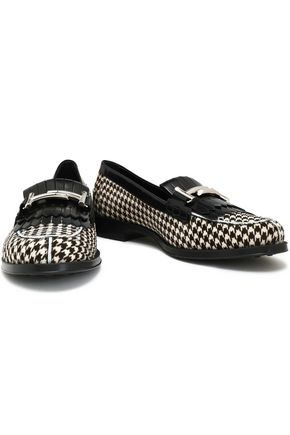 TOD'S Glossed leather-trimmed houndstooth calf hair loafers