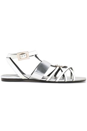 ROGER VIVIER Embellished two-tone leather sandals