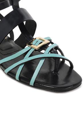 ROGER VIVIER Embellished two-tone leather sandals