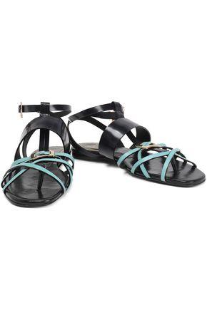 34d47a3434b0 ROGER VIVIER Embellished two-tone leather sandals