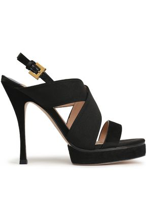 STUART WEITZMAN Leather platform slingback sandals