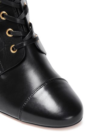 STUART WEITZMAN Lace-up stretch-leather ankle boots