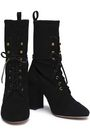 STUART WEITZMAN Lace-up stretch-suede ankle boots