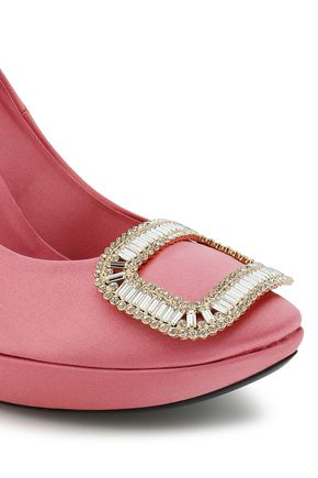ROGER VIVIER Crystal-embellished satin platform pumps