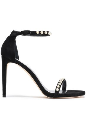 STUART WEITZMAN Faux pearl studded suede sandals